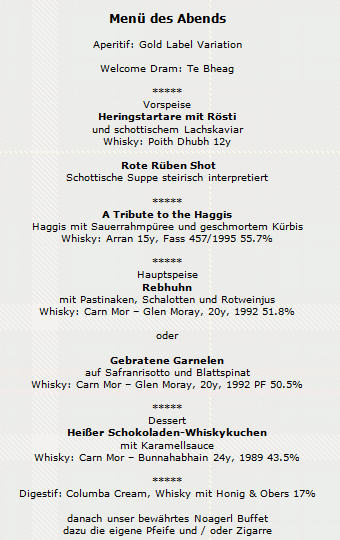 Burns Supper 2014 Menu